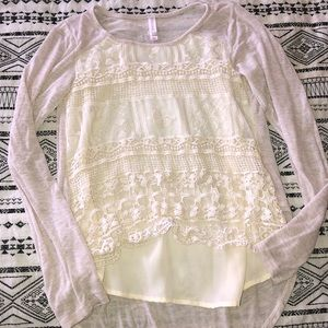 Tops - Cream long sleeve size L (10-12)